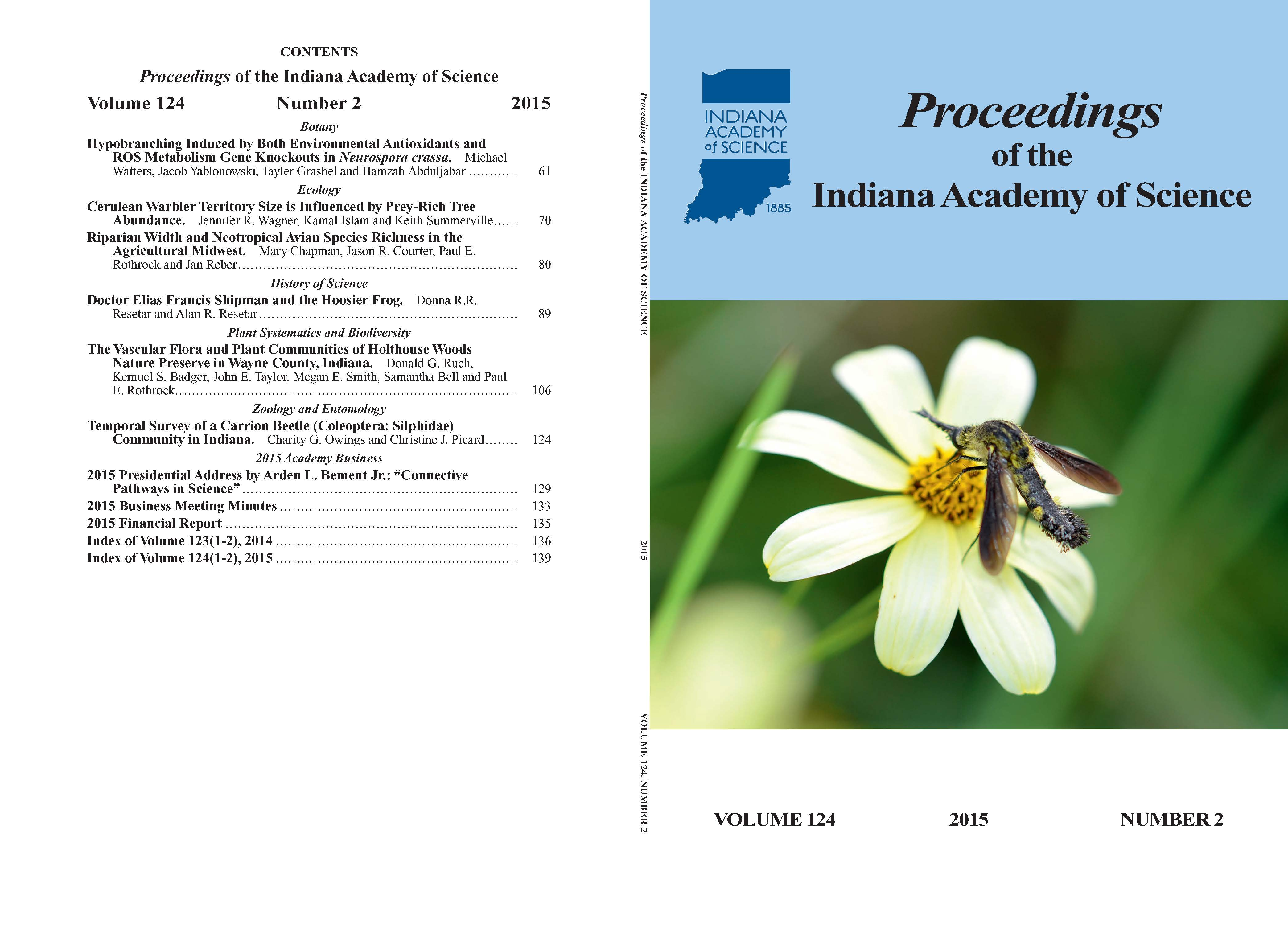 Proceedings of the Indiana Academy of Science 124:2 2015